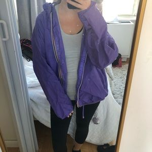 Purple k-way windbreaker